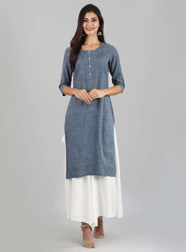AURELIA Textured Three-quarter Sleeves Kurta - Top clothing brands in india