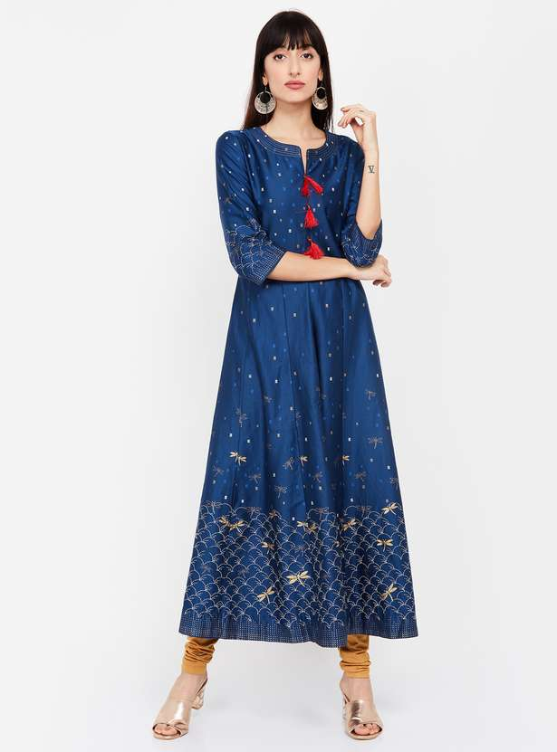 BIBA Printed A-line Kurta - Top clothing brands in india