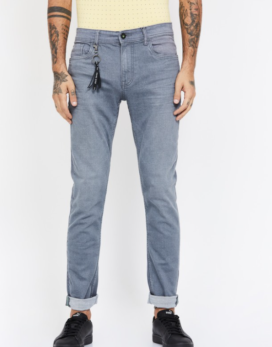 BOSSINI Stonewashed Slim Tapered Jeans with Tassel Trim - best brands of jeans in India