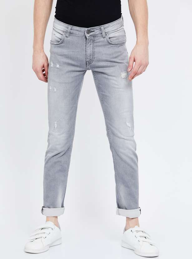 CELIO Dark Washed Distressed Slim Fit Jeans