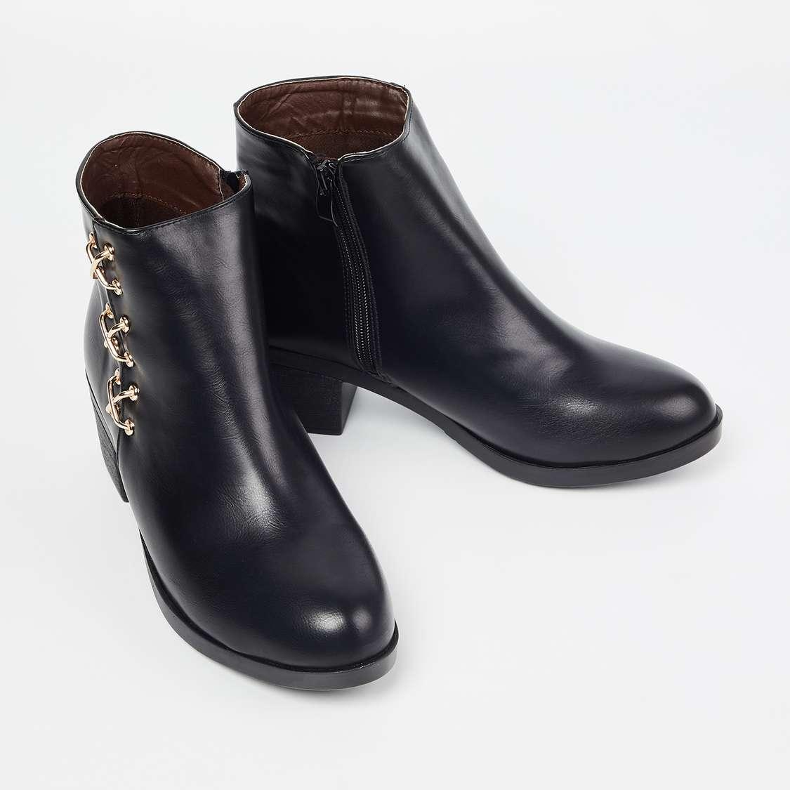 GINGER Embellished Block Heel Ankle Boots