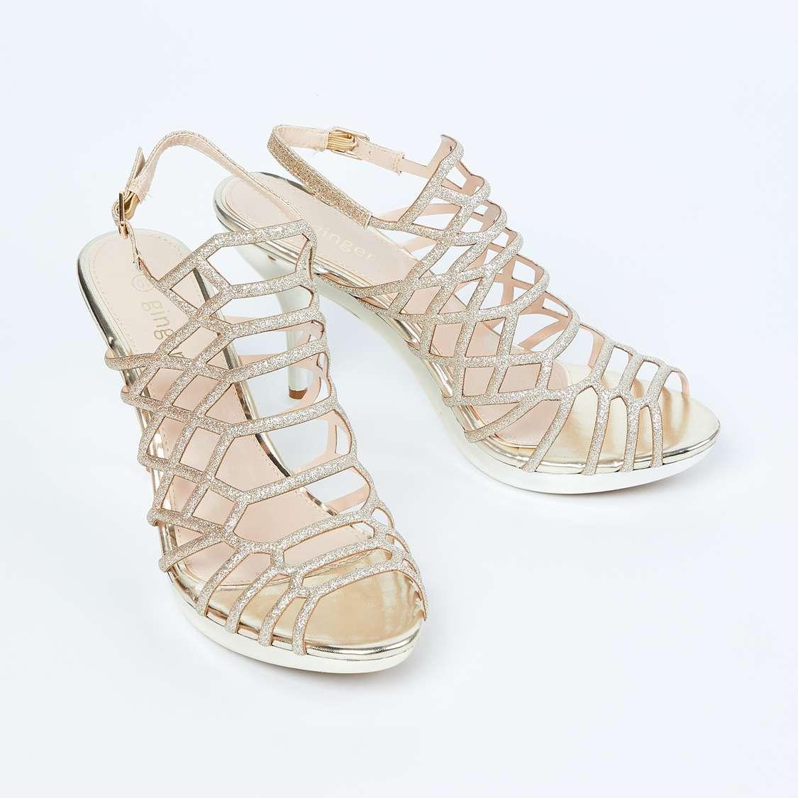 GINGER Glitter Caged Stiletto Heels