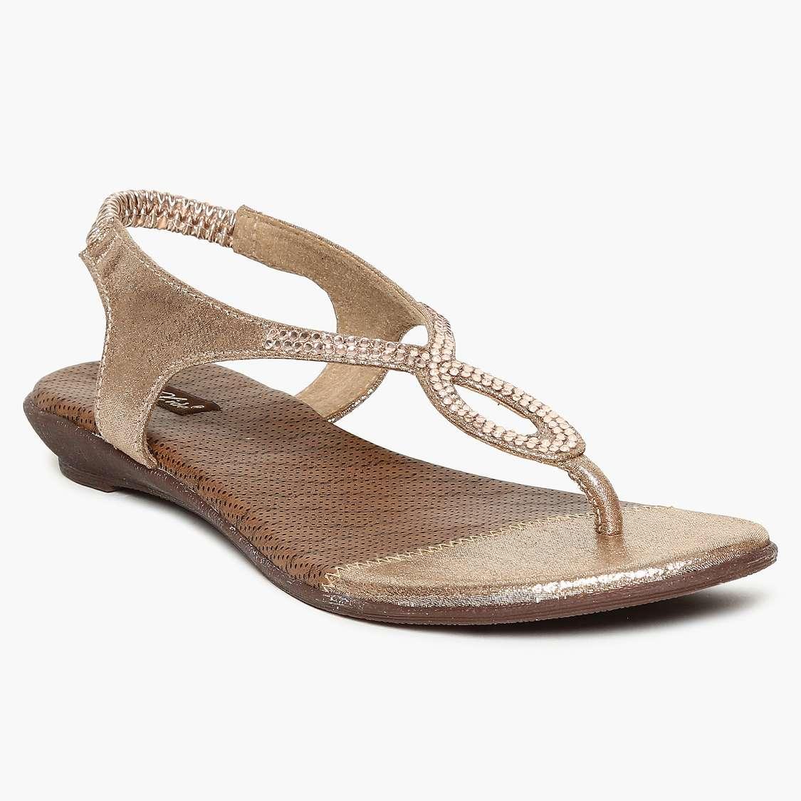 RAW HIDE Metallic Embellished Sling Back Strap Sandals types of shoes for women