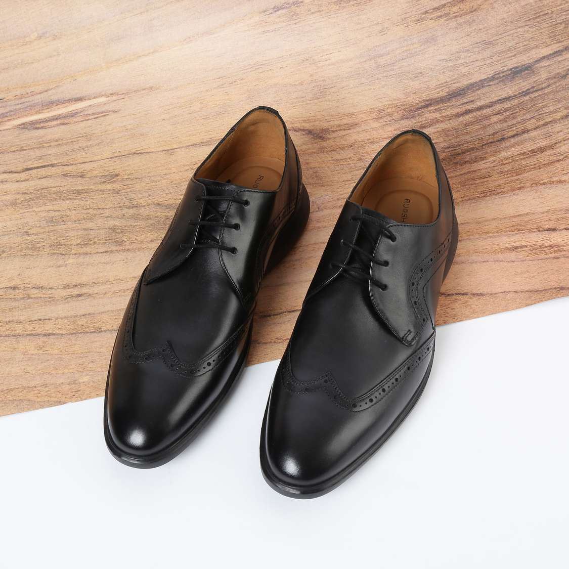 RUOSH Genuine Leather Wingtip Semi-Brogue Derby Shoes