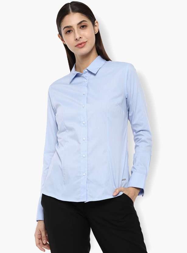 VAN HEUSEN Solid Full Sleeves Shirt - Top clothing brands in india