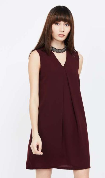 FABALLEY Embellished Choker Neck A-line Dress