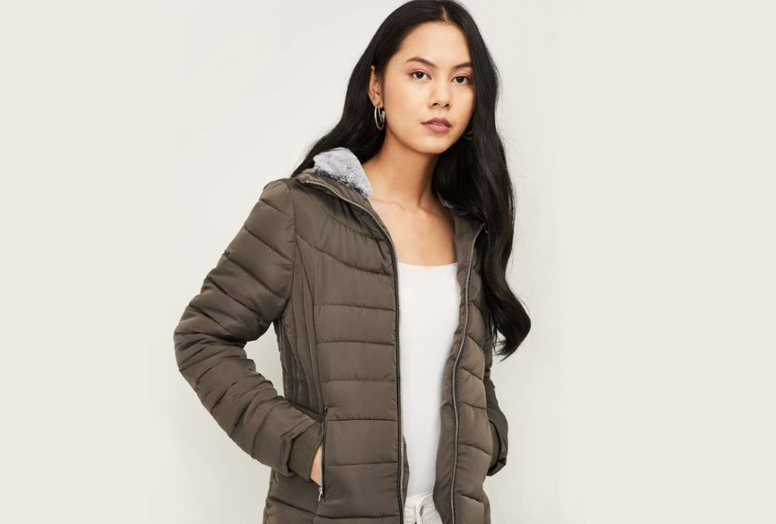 GINGER-Women-Solid-Puffer-Jacket