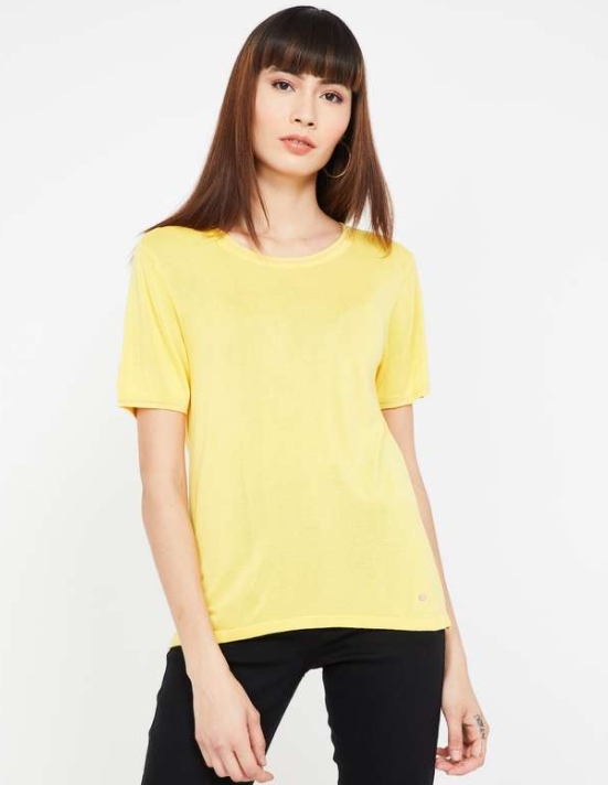 ALLEN SOLLY Solid Short Sleeves T-shirt - tops to wear with long skirts
