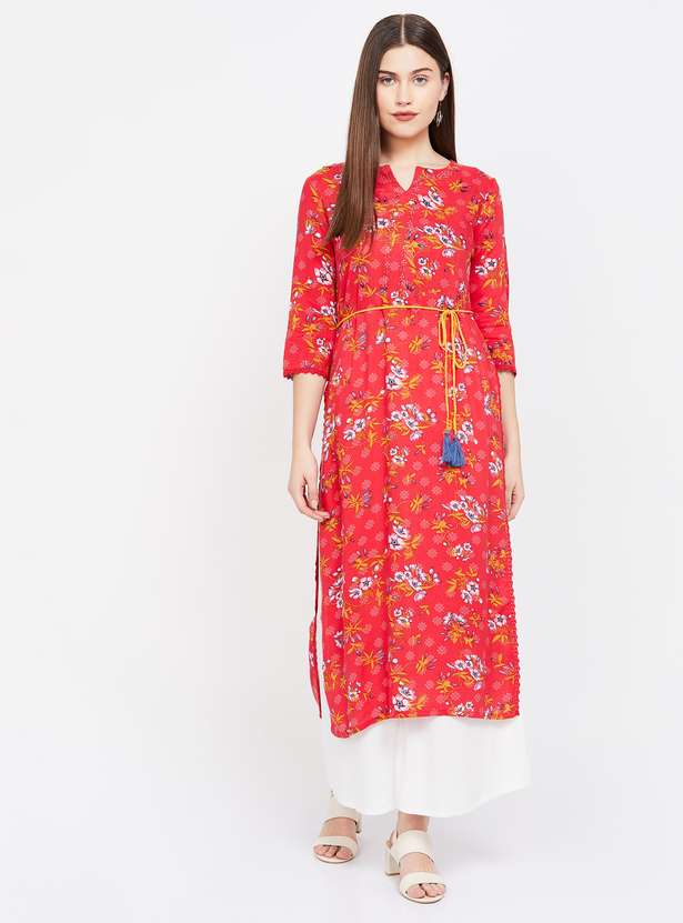 COLOUR ME Floral Print Straight Kurta with Tie-Up best valentines gift for her