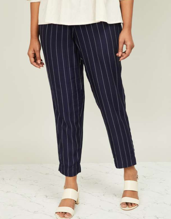 DE MOZA Women Striped Elasticated Cigarette Pants - types of ethnic wear