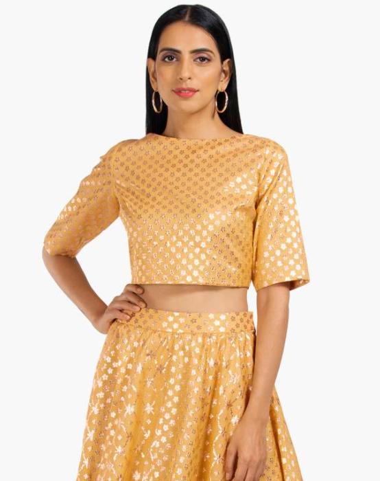 INDYA Embroidered Short Sleeves Crop Top
