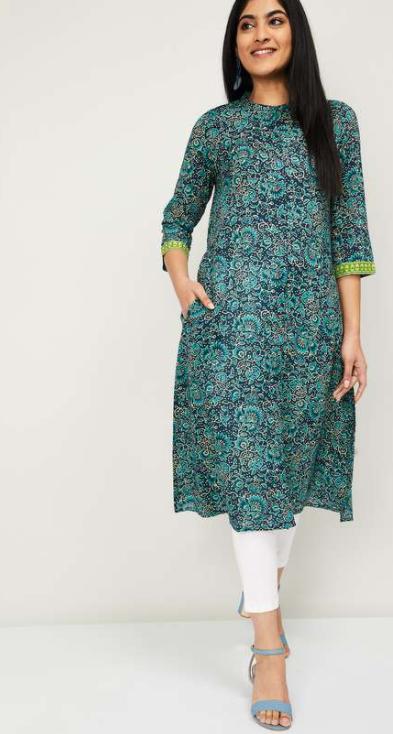 MELANGE Women Floral Print A-line Kurta - types of ethnic wear