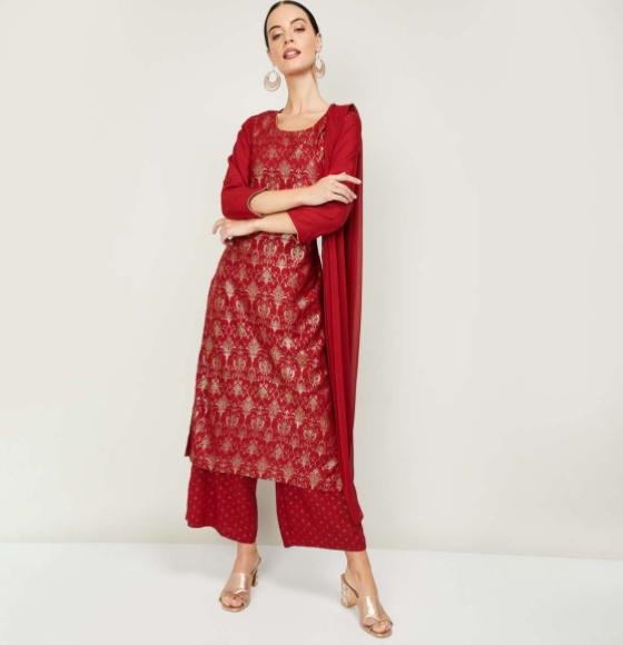 RANGRITI Women Printed Straight Kurta with Palazzos and Dupatta - types of ethnic wear