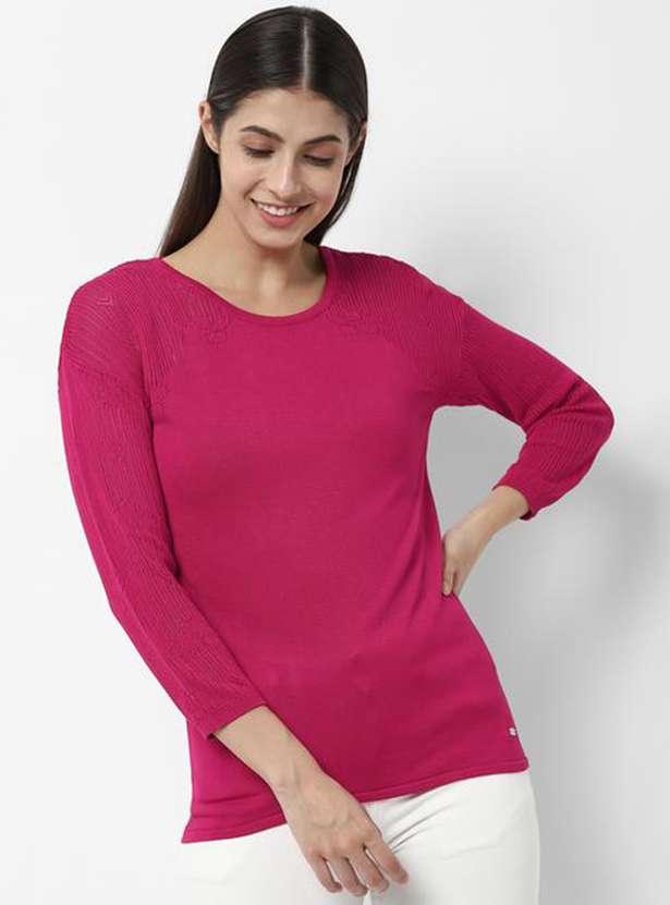 ALLEN SOLLY Women Textured Round Neck T-shirt