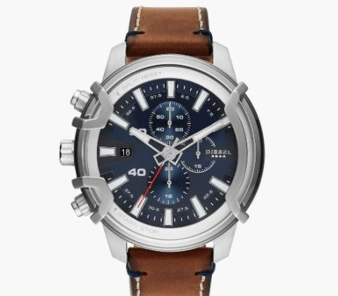 DIESEL Men Chronograph Watch with Leather Strap - DZ4518