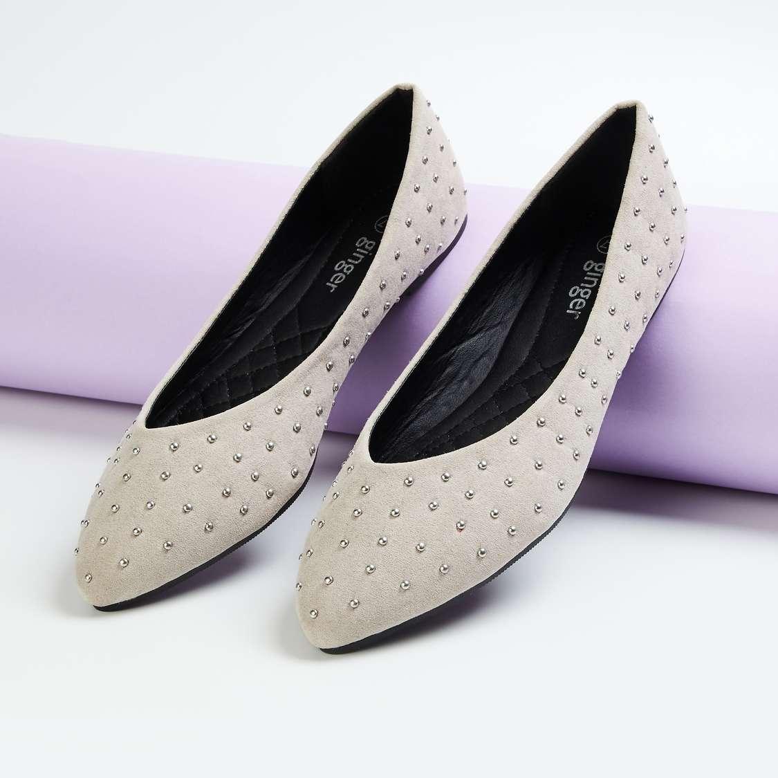 GINGER Women Embellished Pointed Toe Ballerinas