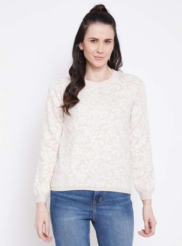 MADAME Women Textured Full Sleeves Sweater