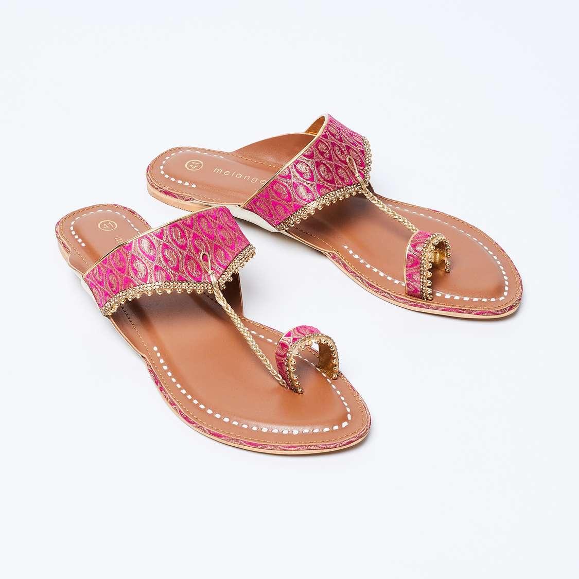 MELANGE Jacquard Patterned Toe-Ring Flats
