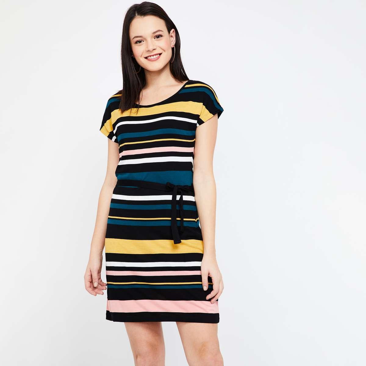 2.BOSSINI Striped Cap Sleeves Dress