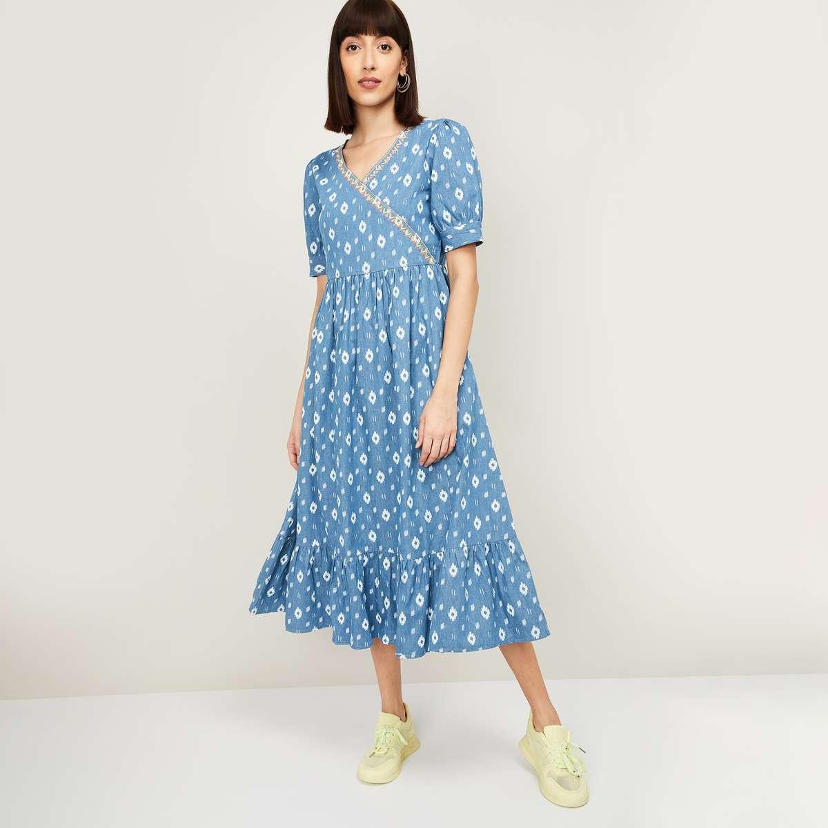 3.COLOUR ME Raga Women Printed Short Sleeves A-line Midi Dress