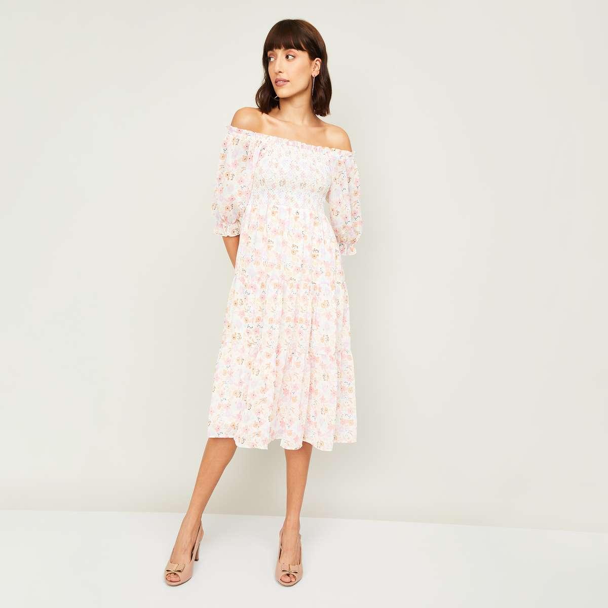 3.GINGER Women Floral Print Off-Shoulder Dress