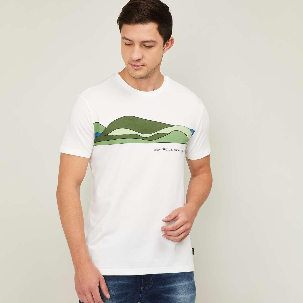 4.DENIMIZE Men Printed Crew Neck T-shirt