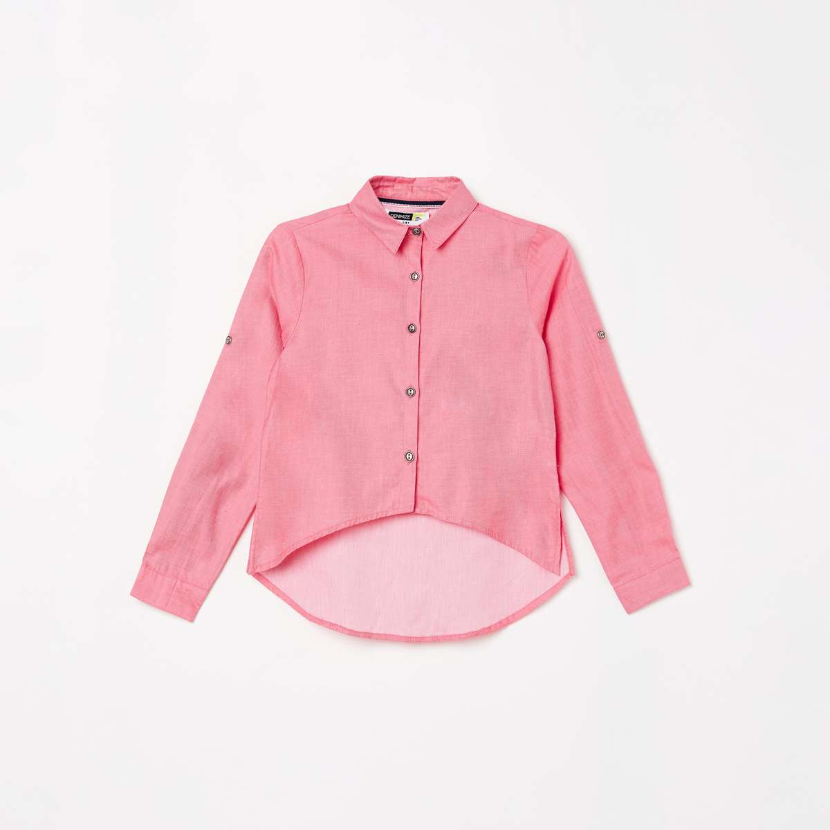 5.DENIMIZE Girls Solid High-Low Hem Shirt