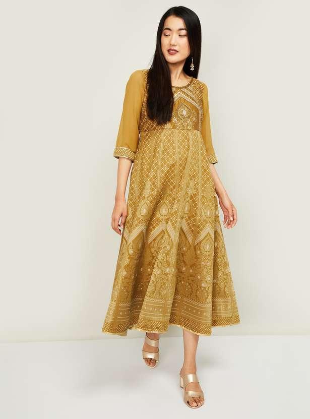 AURELIA Women Jacquard Pattern Maxi Dress