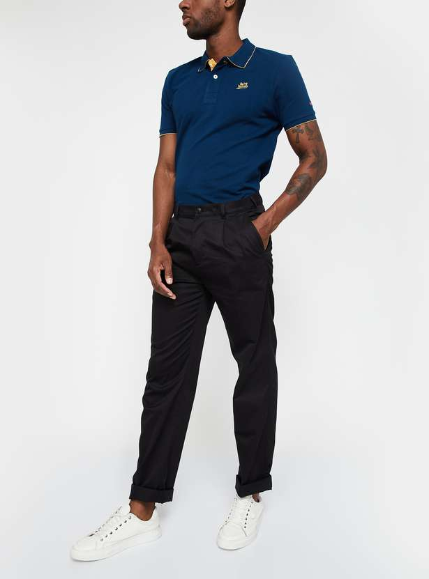 COLORPLUS Pleated-Front Regular Fit Trousers