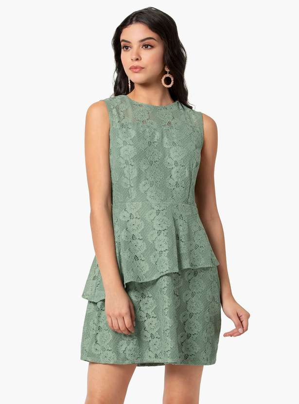 Women Floral Lace Layered Sheath Dress