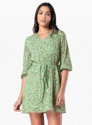 FABALLEY Women Floral Print V-neck A-line Dress