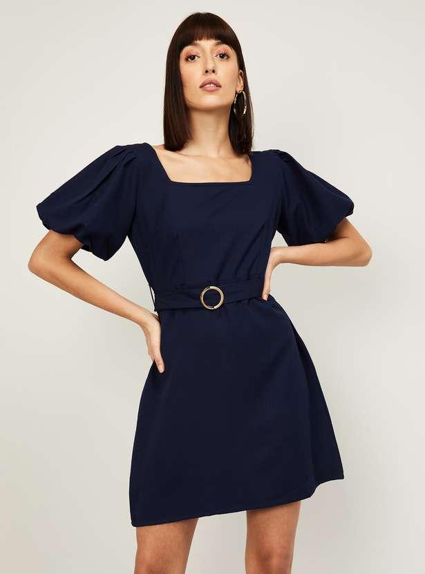FABALLEY Women Solid A-Line Dress