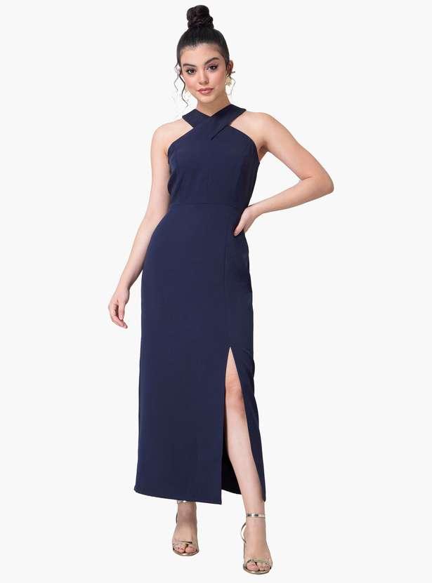 Women Solid Cutaway Neck Midi Dress