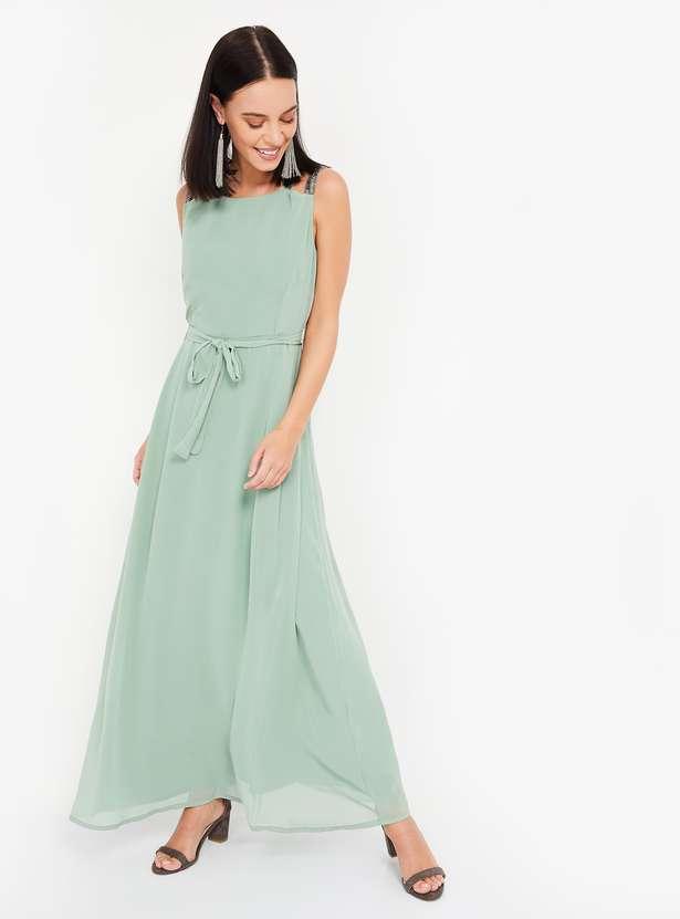 Women Solid Sleeveless Maxi Dress