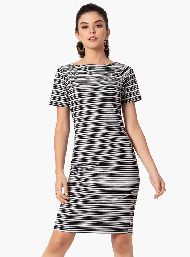 FABALLEY Women Striped T-shirt Dress