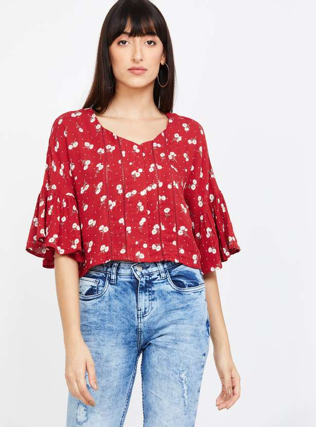 GINGER Floral Print V-neck Crop Top