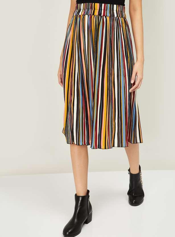 GINGER Women Striped A-line Midi Skirt