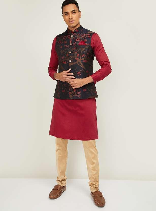 MANYAVAR Solid Band Collar Kurta with Churidar and Jacquard Jacket