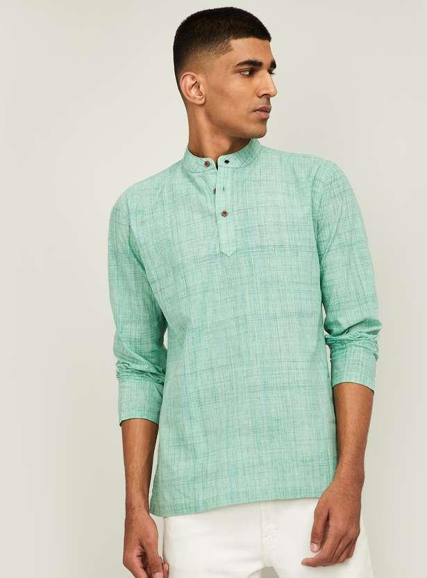 MELANGE Men Textured Shirt Kurta with Band Collar- Best Ethnic Wear