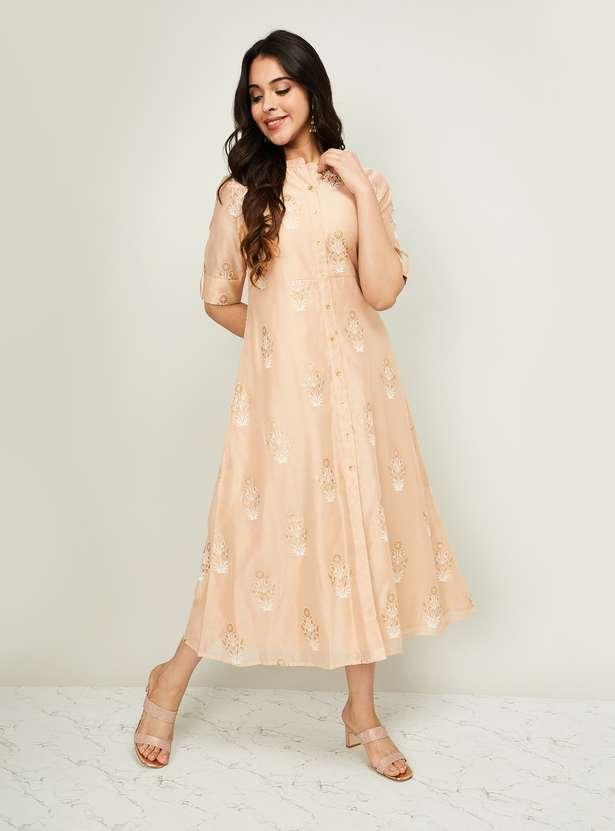 MELANGE Women Roll-Up Sleeves Floral Print Midi Dress