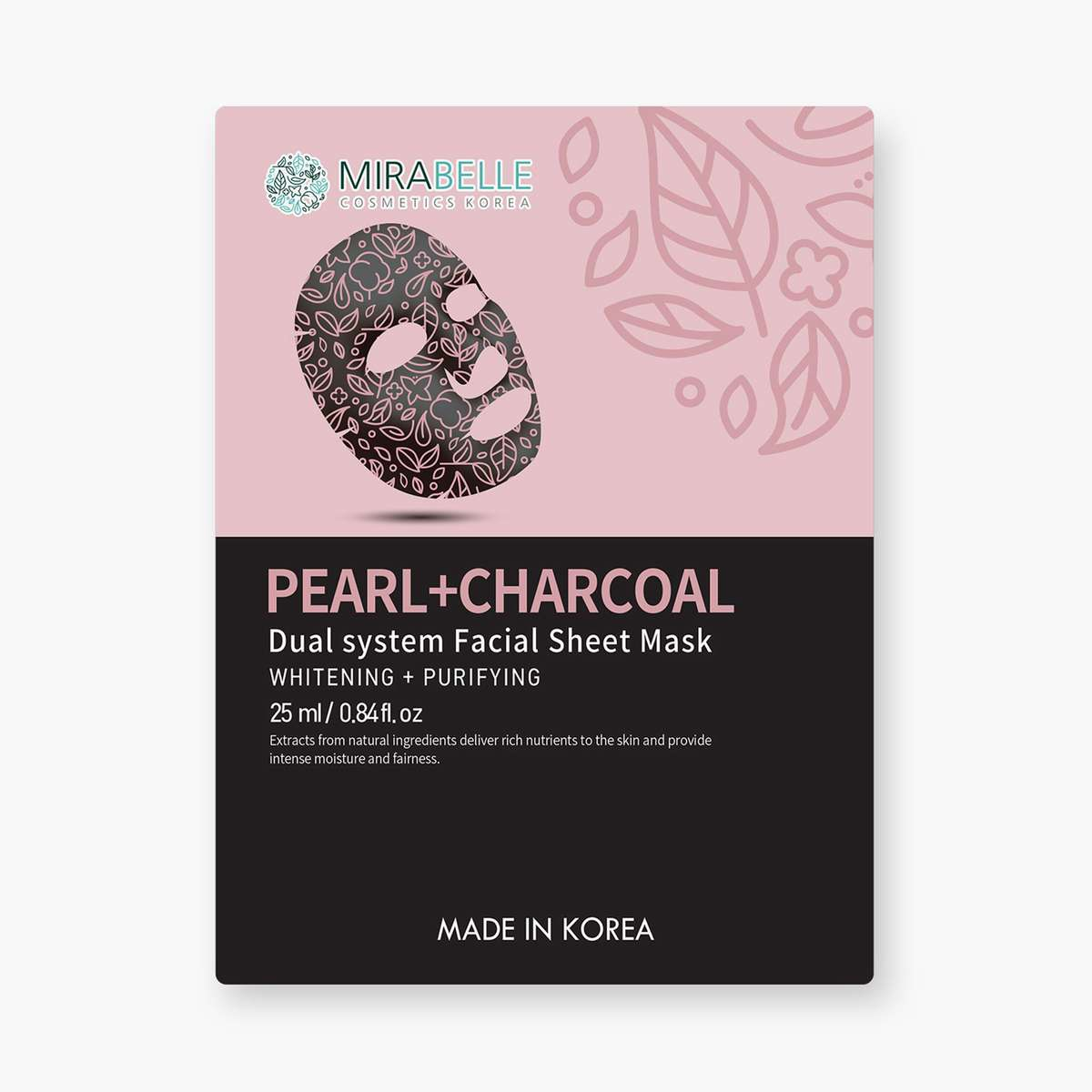MIRABELLE Korea Dual System Facial Sheet Mask- Pearl + Charcoal