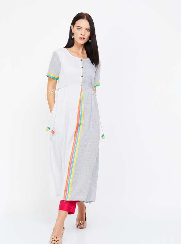 SPAN Colorblocked Kurta with Pom-Poms- Best Ethnic Wear