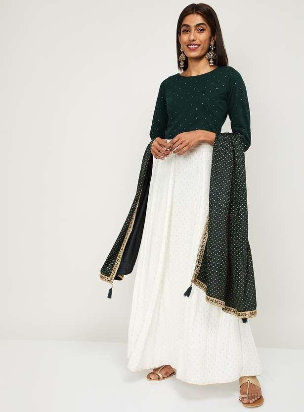 SPAN Women Embellished Ethnic Crop Top & Flared Skirt Best Ethnic Wear