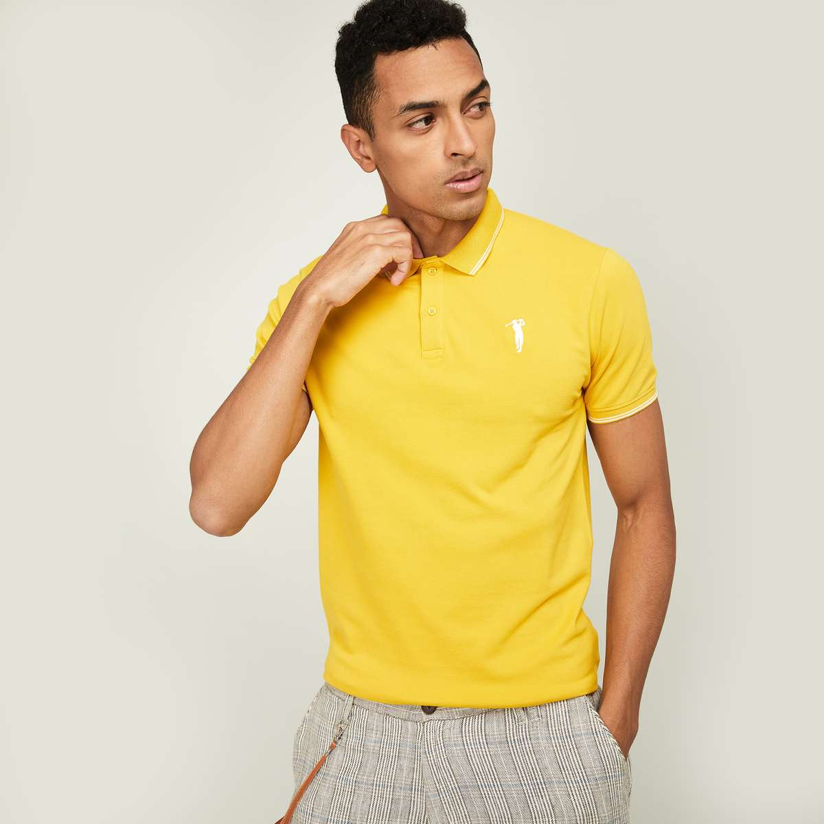 1.BOSSINI Men Solid Regular Fit Polo T-shirt