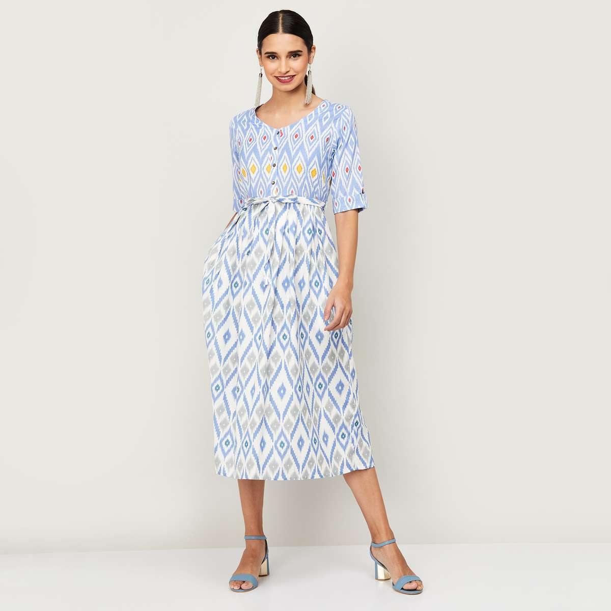 1.COLOUR ME Women Printed A-Line Dress