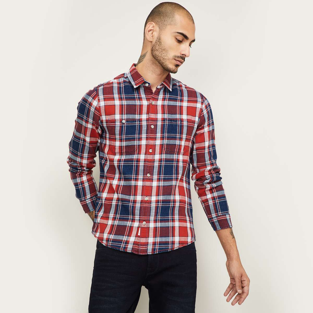 1.FORCA Men Checked Regular Fit Casual Shirt