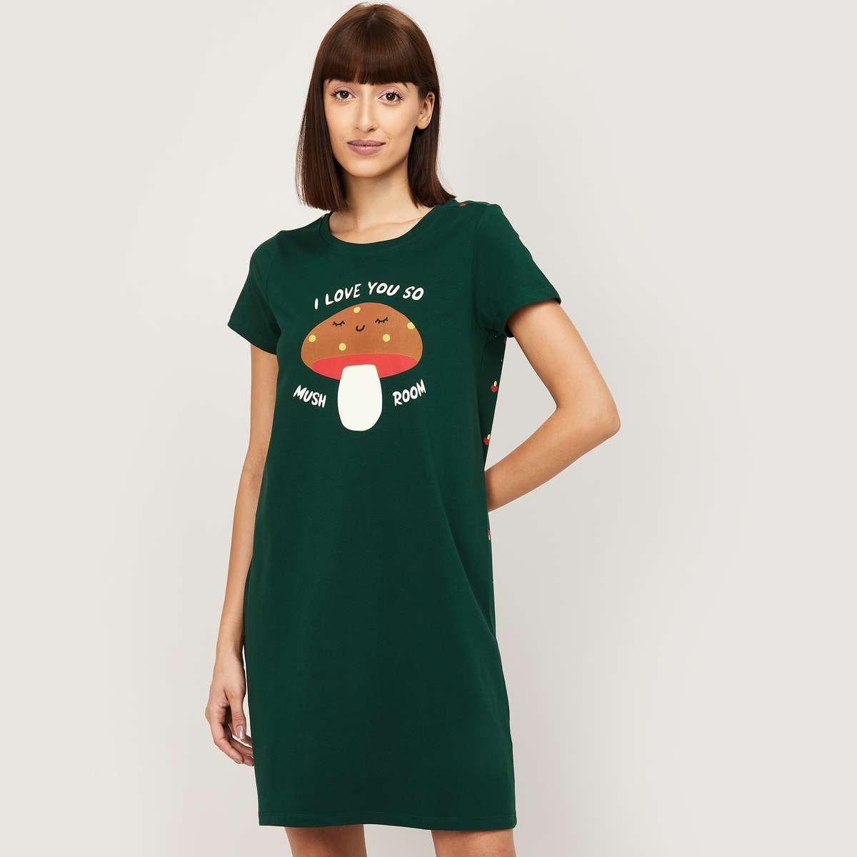 1.GINGER Women Printed Night Dress