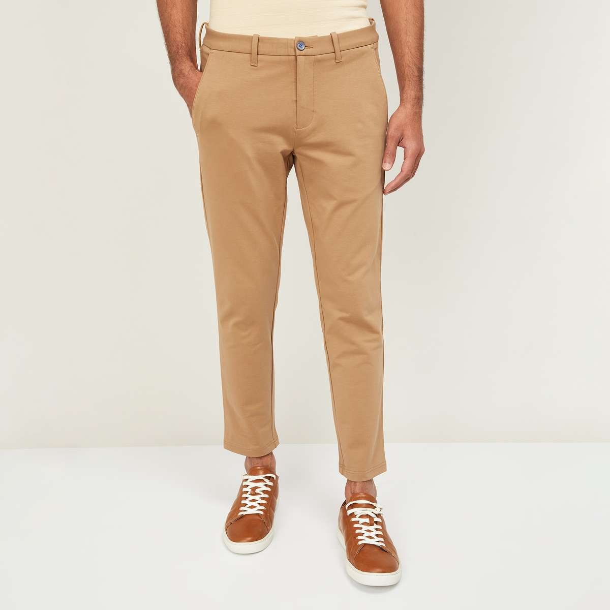 2.CODE Men Solid Sim Tapered Chinos
