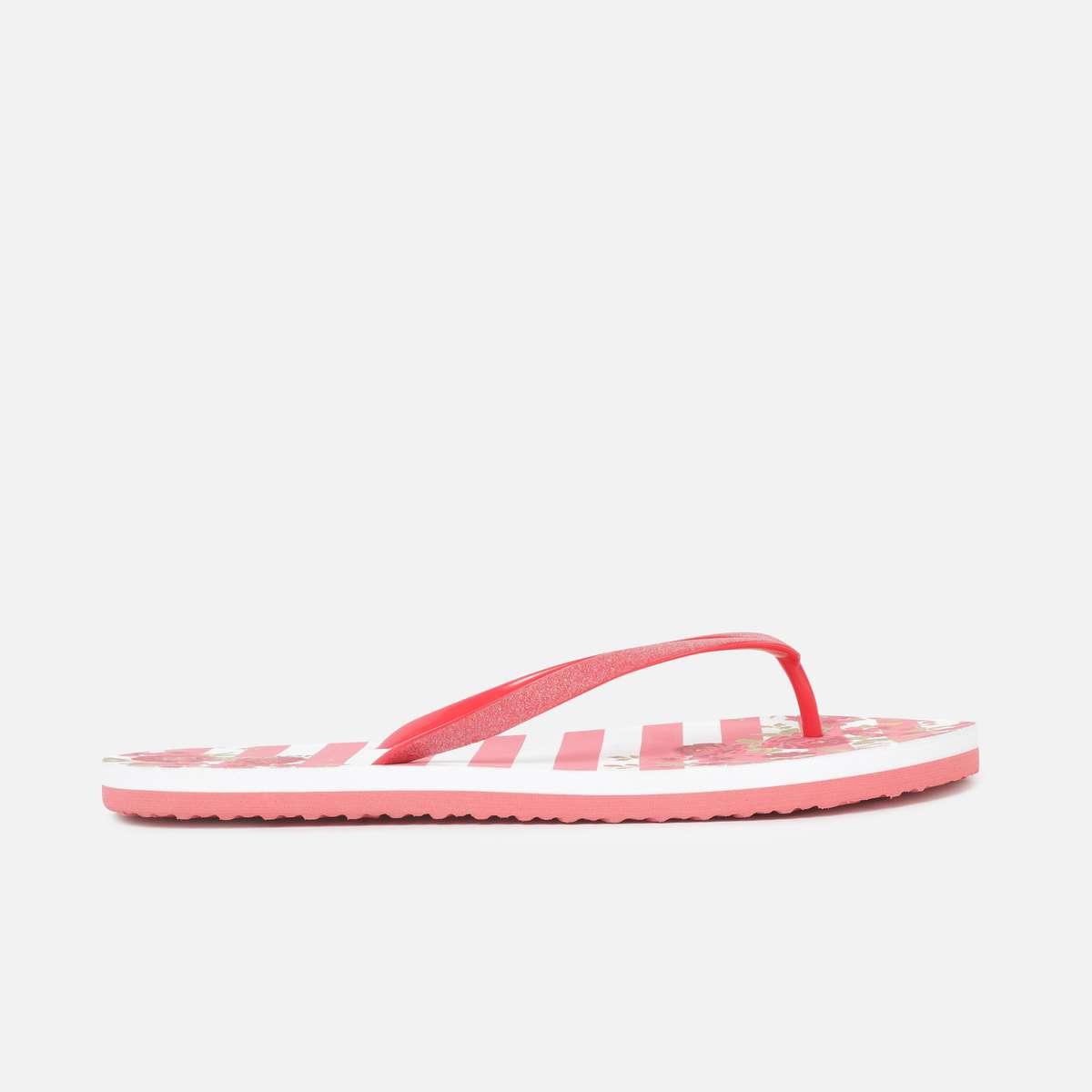 3.GINGER Women Printed V-strap Slippers