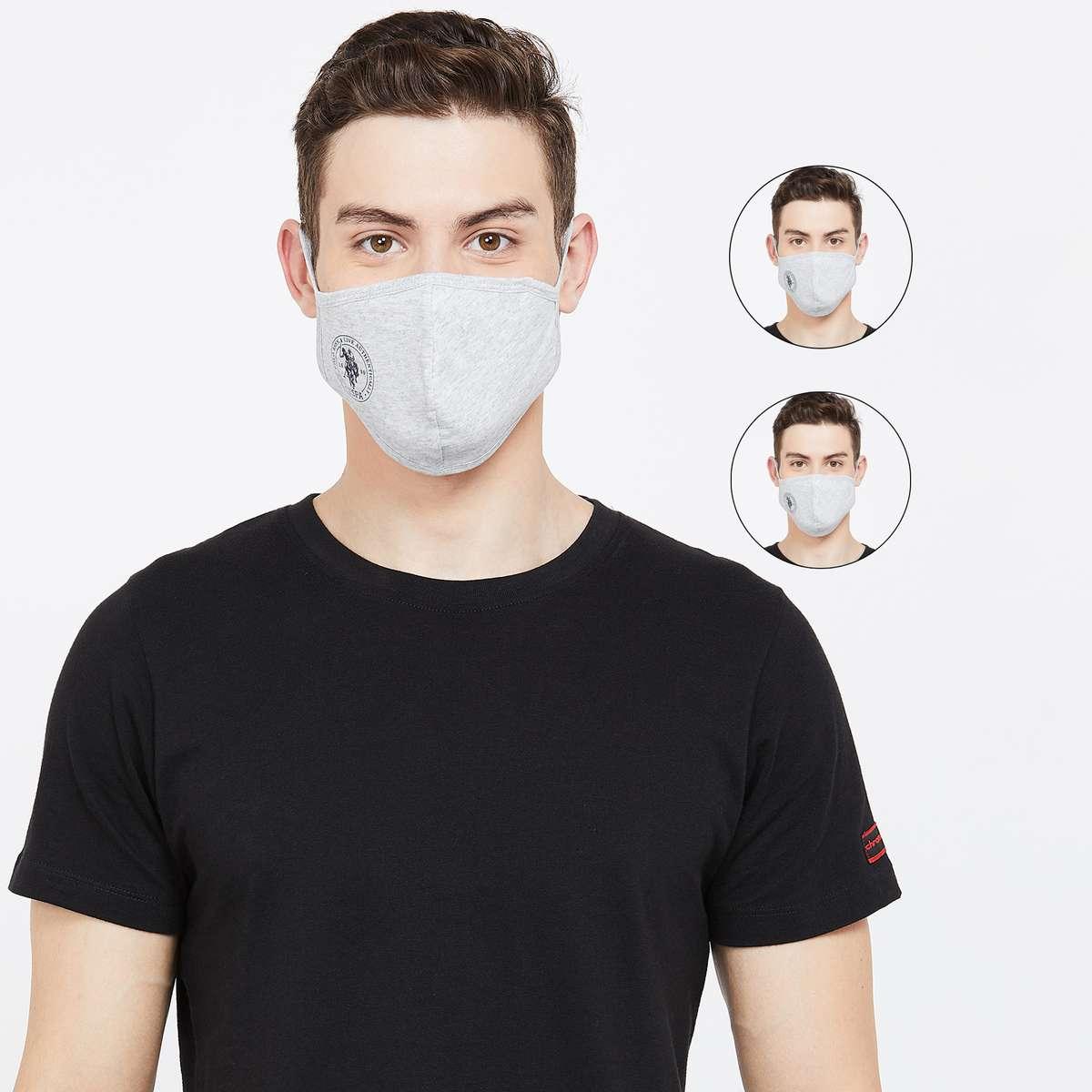 3.U.S. POLO ASSN. Men Textured 3-Layered Reusable Face Masks - Pack of 3